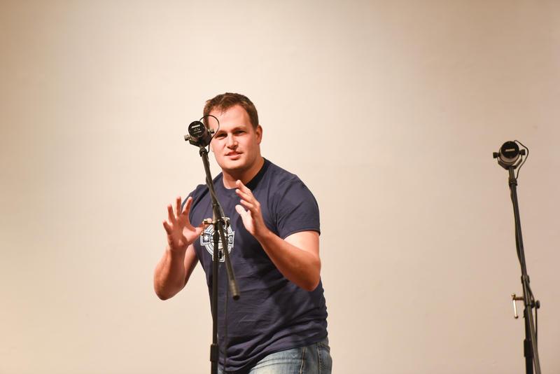Garrett Brnger prepares for battle