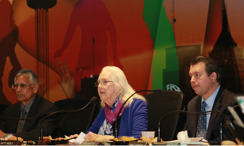 SAISD board  Vice President Arthur Valdez, President Patti Radle and Superintendent Pedro Martinez in January 2018.