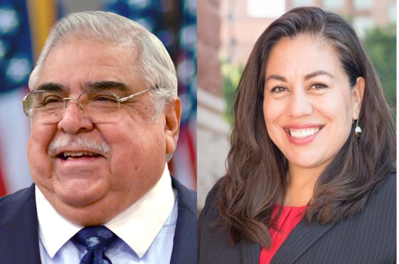 Incumbent Bexar County Commissioner for Precinct 2, Paul Elizondo (left), and and challenger Queta Rodriguez (right) will face off in the Democratic primary runoff election May 22