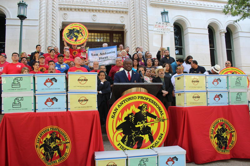 The San Antonio Professional Firefighter's Association held a news conference Wednesday at City Hall.