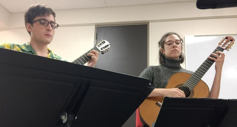 Dan Shumacher, left, and Ashley Lucero will be a part of showcase for the UTSA guitar program.