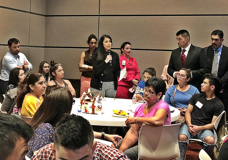 South San resident Karla Gomez Sanchez asks district leaders a question during a community meeting Tuesday night.