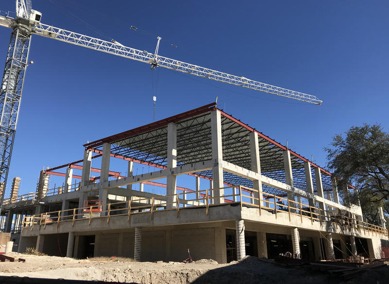 Construction on a new Fine Arts building for Holmes High School in January 2018.