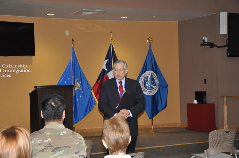 Mario R. Ortiz speaking at a naturalization ceremony
