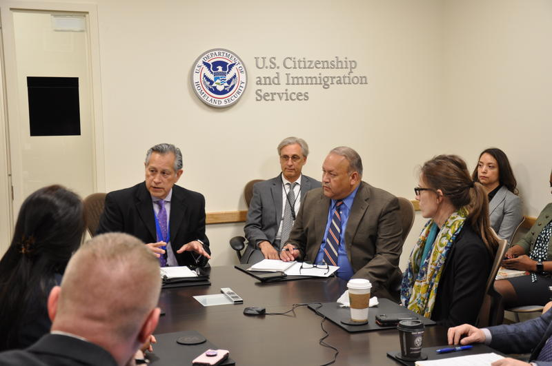 Mario R. Ortiz speaking with staff at the USCIS San Antonio field office