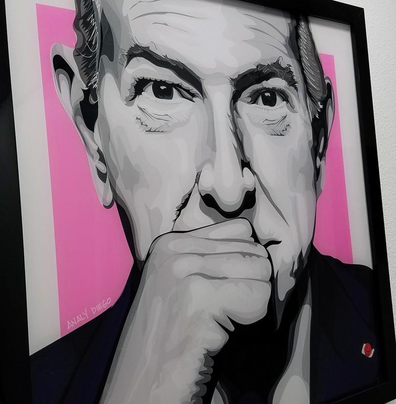 Oscar de la Renta, vector illustration on acrylic, by Analy Diego
