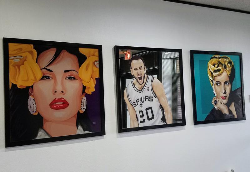 Analy Diego's portraits of Selena, Manu Ginóbili, Eva Perón