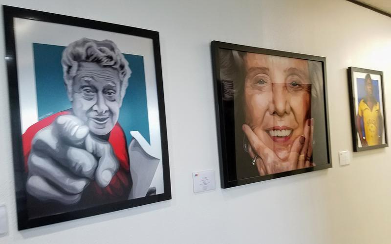 Analy Diego's portraits of David Alfaro Siqueiros, Elena Poniatowska, Pelé