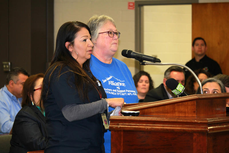 Members of San Antonio Alliance, the local teachers union, speak at a trustee meeting in January 2018.