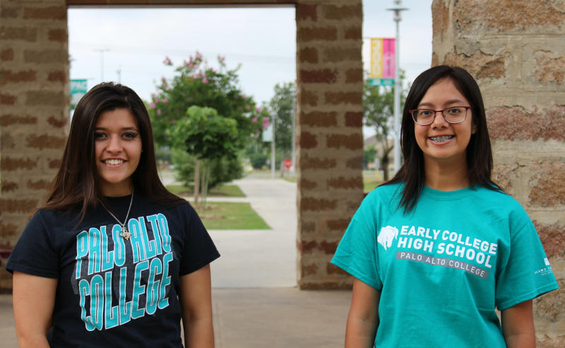 Loretta Nieto from Southside High School and Adriana Tapia from Frank L.  Madla High School are part of the first cohort of early college high school graduates at Palo Alto College.