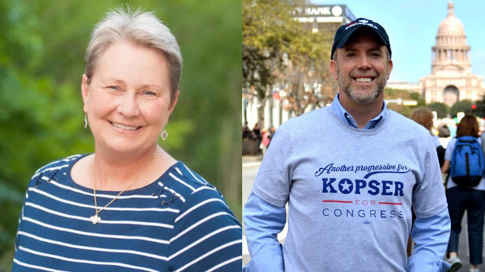 Mary Street Wilson (L) and Joseph Kopser (R) are in runoffs for the Democratic Party nominarion in Texas Congressional District 21.