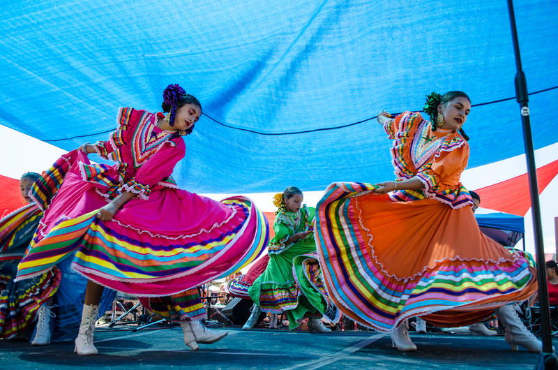 Students from Terlingua dance during the Voices from Both Sides festival.
