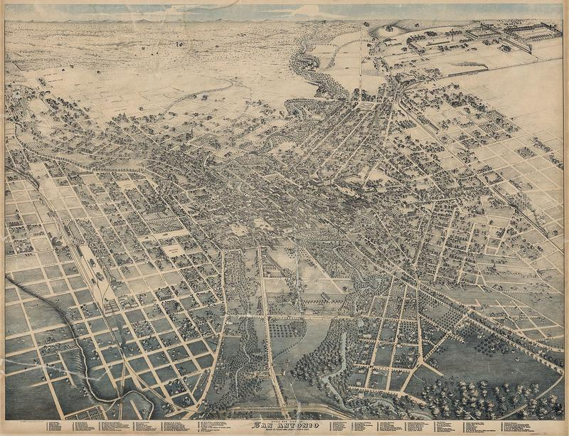Lithograph of Bexar County in 1886