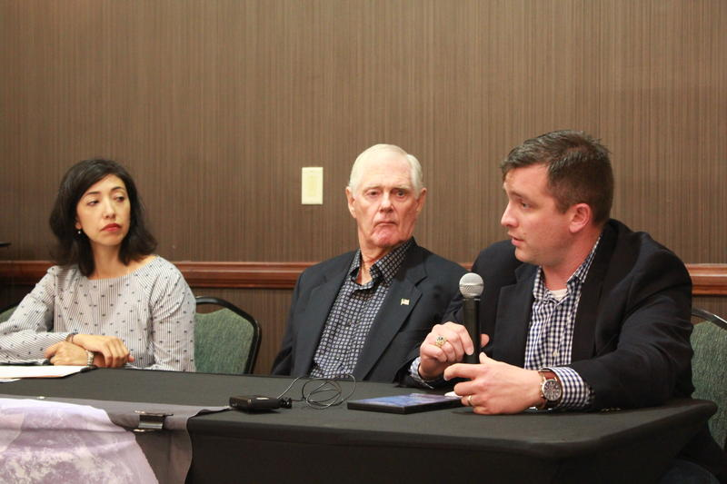 From left to right: District 7 Councilwoman Ana Sandoval, Lt. Gen. Dirk Jameson of the American Security Project, and former Army Captain James Morin of the Truman National Security Project.