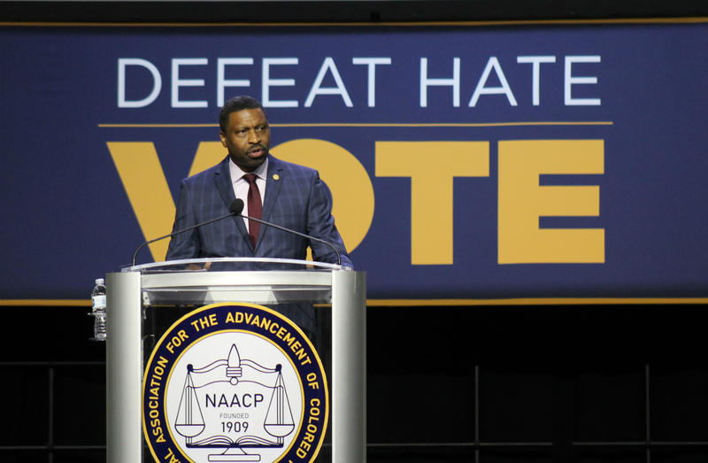 NAACP President Derrick Johnson speaks at an opening session of the civil right organization's annual convention in San Antonio July 16, 2018.