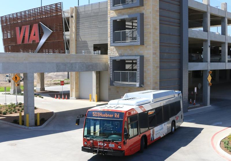 A VIA bus rolls out from the new Stone Oak Park & Ride. The facility, which opened in late June, offers Express and Crosstown route services to downtown and the Medical Center.