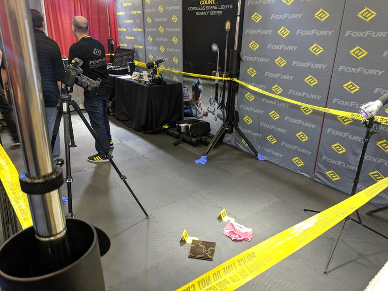 Foxfury lighing demonstrates its crime scene kits at an International Association for Identifications event.
