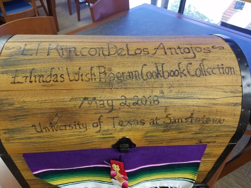 Chest that holds the 'Rincón de los Antojos' cookbook collection at the UTSA Libraries Special Collections