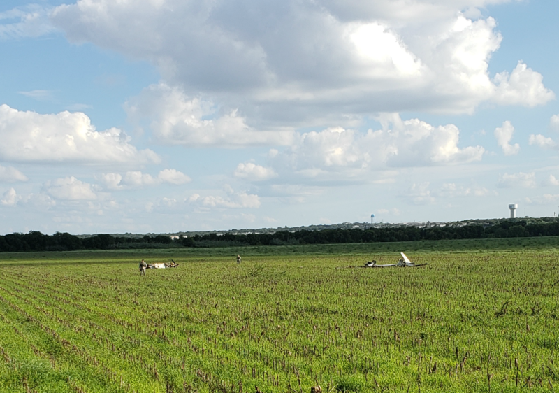 An Air Force plane has crashed Tuesday in a field off Nacogdoches Road, north of Loop 1604.