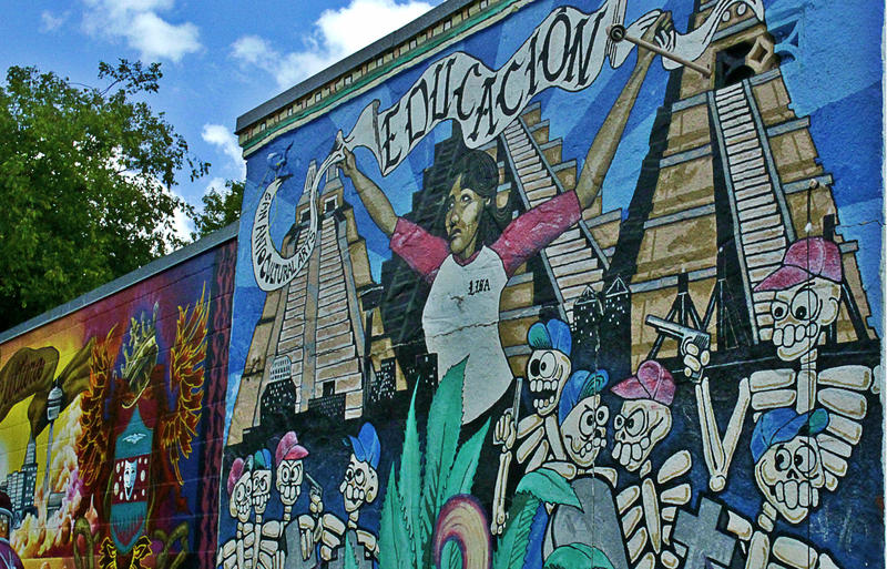 A public mural in San Antonio's West Side encourages students to stay in school.