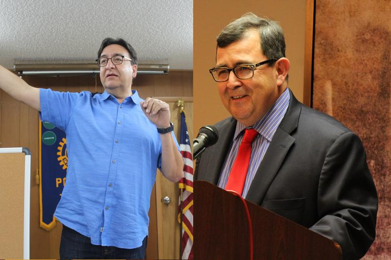 Democrat Pete Gallego, left, speaks to Atascosa County voters. Republican Pete Flores talks to supporters at the Alamo City Republican Women luncheon.