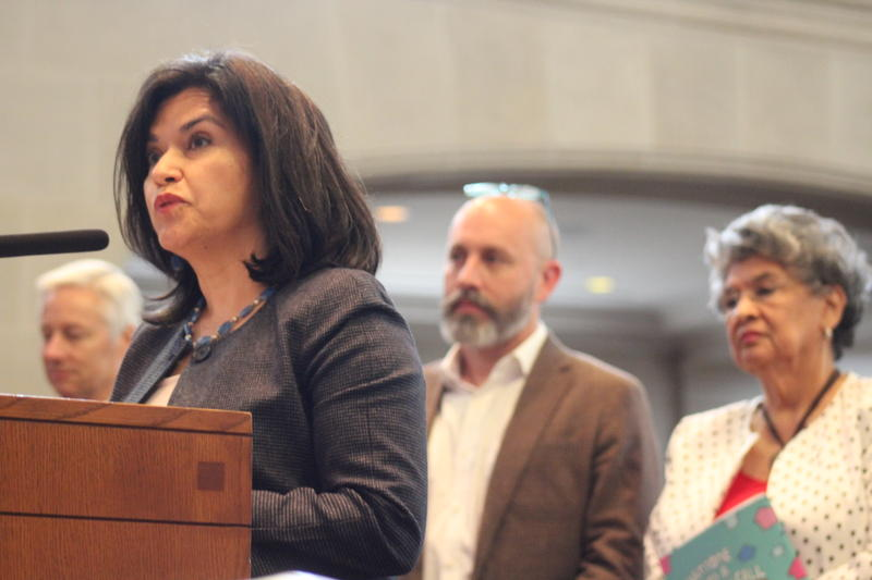 Taskforce Chair Lourdes Castro-Ramirez - joined by other members of the taskfoce - address the San Antonio City Council before Thursday's vote