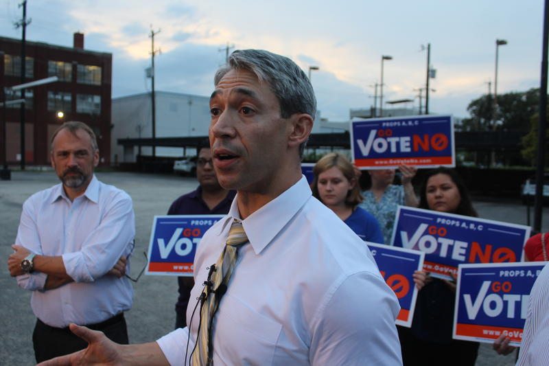 San Antonio Mayor Ron Nirenberg holds an news conference shortly after the town hall was supposed to take place.