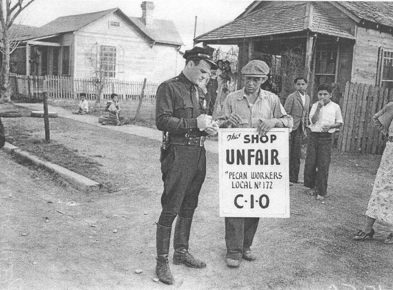 San Antonio police officer Arthur Perez, left; pecan shellers strike; published in the Light on Feb. 11, 1938.