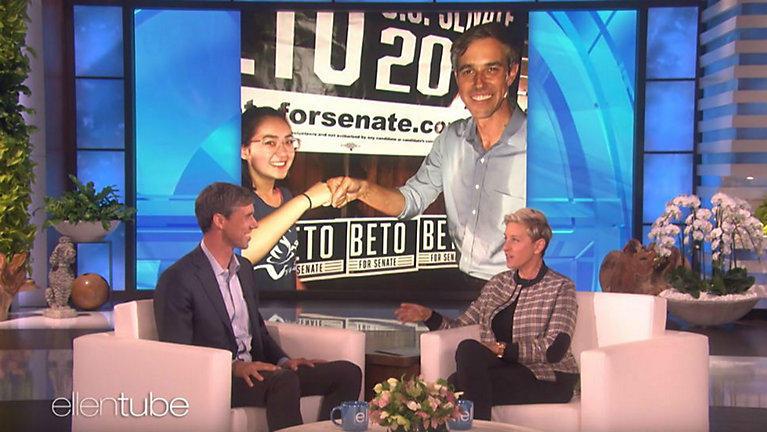 "Beto O'Rourke appearing on ""The Ellen DeGeneres Show."""