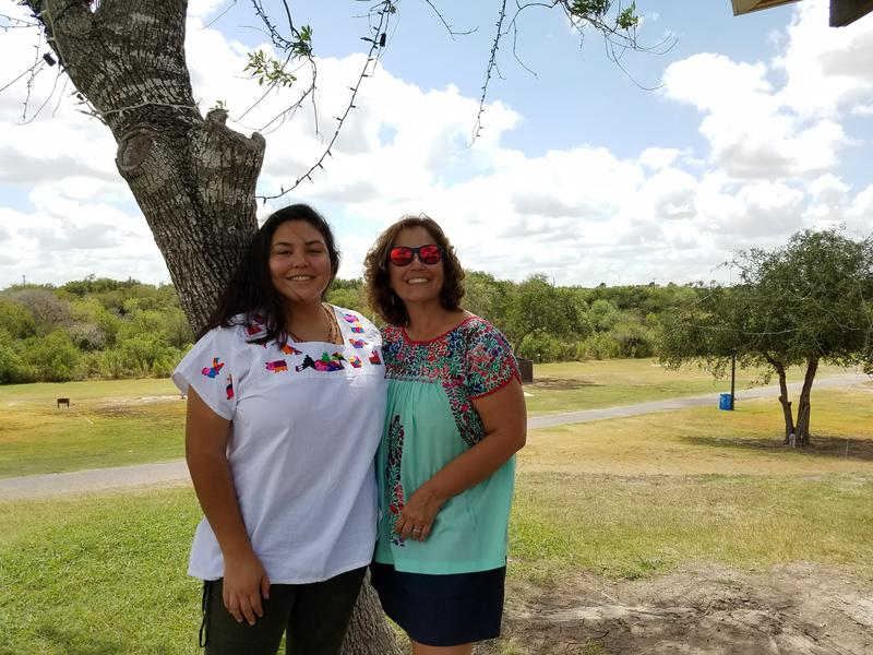 Eva Garcia, Brownsville city planner, and Rose Gowen, Brownsville physician and city commissioner, at McKelvey Park in Harlingen.