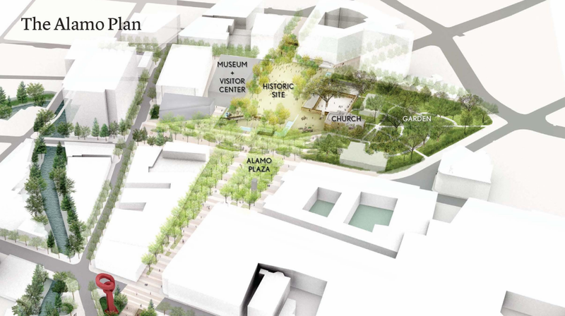 A layout of what Alamo Plaza and the Alamo grounds would look after renovations are complete in 2024
