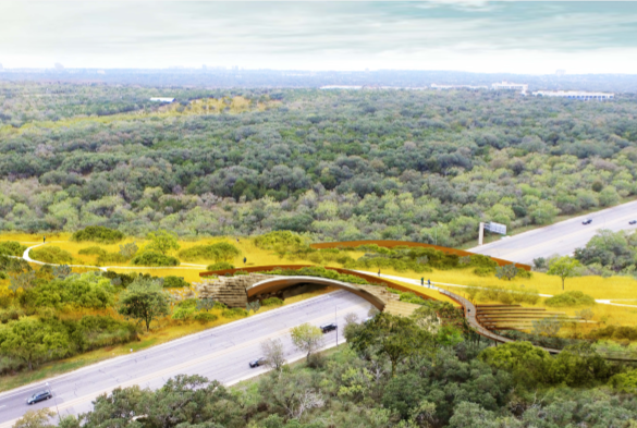 Artist rendering of Hardberger Park land bridge