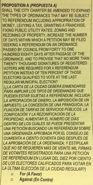 Proposition A on sample ballot