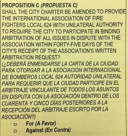 Proposition C on sample ballot