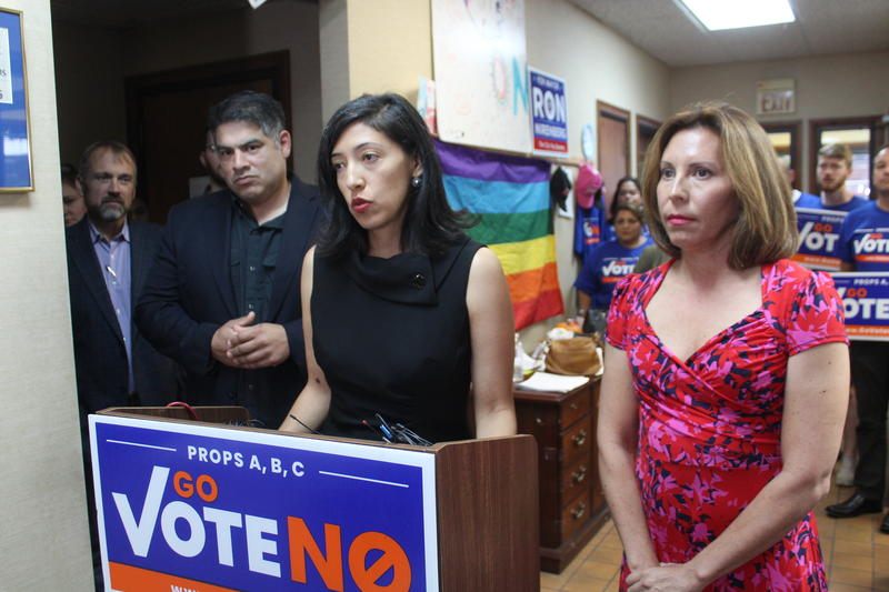 Council members, freom left, Manny Pelaez, Anna Sandoval and Shirley Gonzales speak at the Go Vote No campaign headquarters after the release of secretly recorded audio. 10.9.18