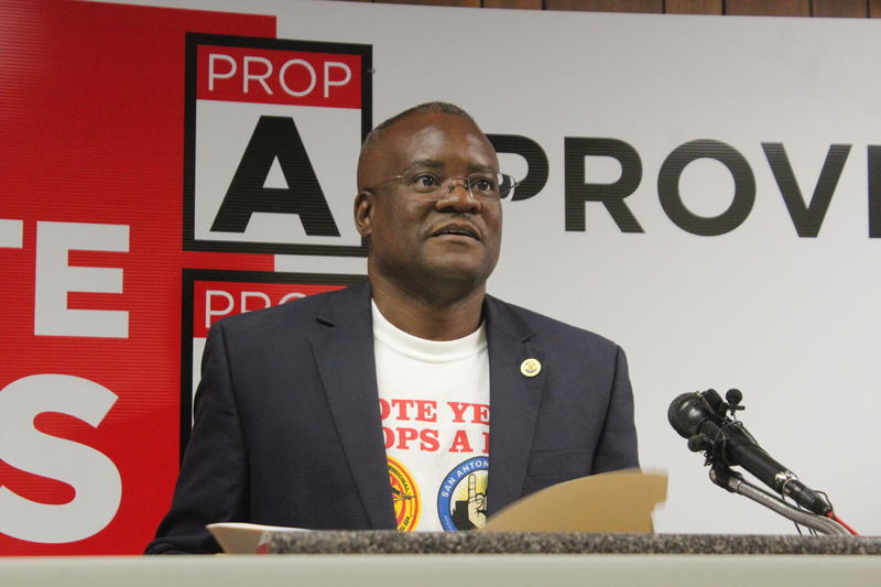 San Antonio Professional Firefighter's Association President Chris Steele speaks at a press conference called by the union a day after secretly recorded audio was released by a campaign that opposes the charter amendments.
