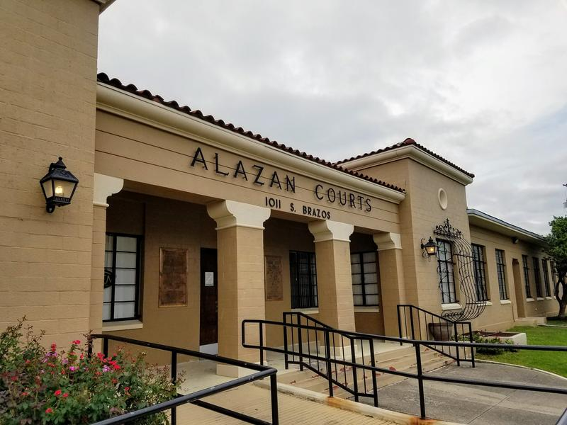 The Alazán Courts Community Room, which is housing the exhibit.