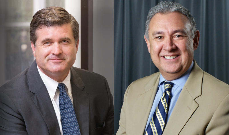 Republican Tylden Shaeffer, left, and Democrat Joe Gonzales are running for Bexar County District Attorney in 2018.