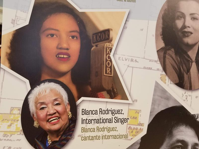 An exhibit panel displaying some of the courts' notable residents, including singer Blanca Rodriguez.