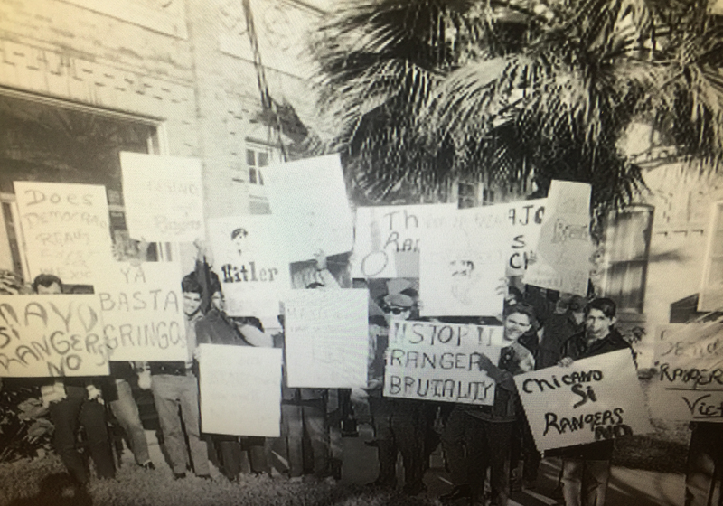 MAYO (Mexican America Youth Organization) organized a protest outside the hearing venue against the Texas Rangers. MAYO members from South Texas came and joined the San Antonio chapter.
