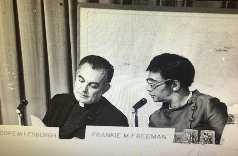 Rev. Theodore Hesburgh and Frankie Freeman at the 1968 U.S. Commission on Civil Rights hearings. Hesburgh served on the commission from 1957-1972. Freeman, a civil rights attorney, was the first woman appointed to the commission.