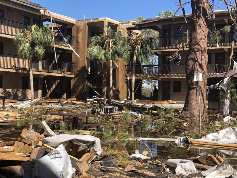The courtyard of a student housing complex sits flooded with water and debris following Hurricane Michael on Oct. 10. Hurricane Michael is the third largest hurricane to make landfall in the United States, reaching peak winds of 155 miles per hour.