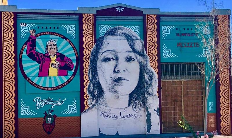 Murals on a building slated for demolition in El Paso's Barrio Duranguito. Center mural by Tatyana Fazlalizadeh. Mural of Antonia Morales (left) by David Flores.