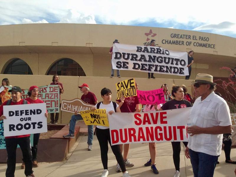 Protestors gather in downtown El Paso near the Abraham Chavez theatre in protest of the demolition of Barrio Duranguito in June 2017.