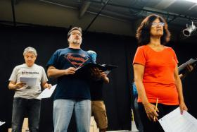 "Cast members rehearse a scene from ""Ring of Red: A Barrio Story,"" which brings to the state oral histories from Mexican-American veterans of the Vietnam War."