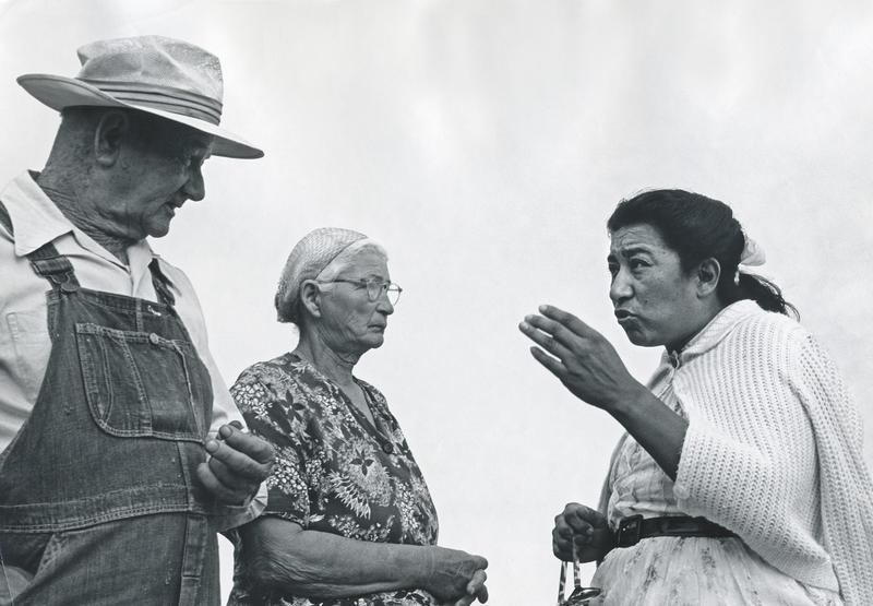 Maria Moreno talking with Old Okies.