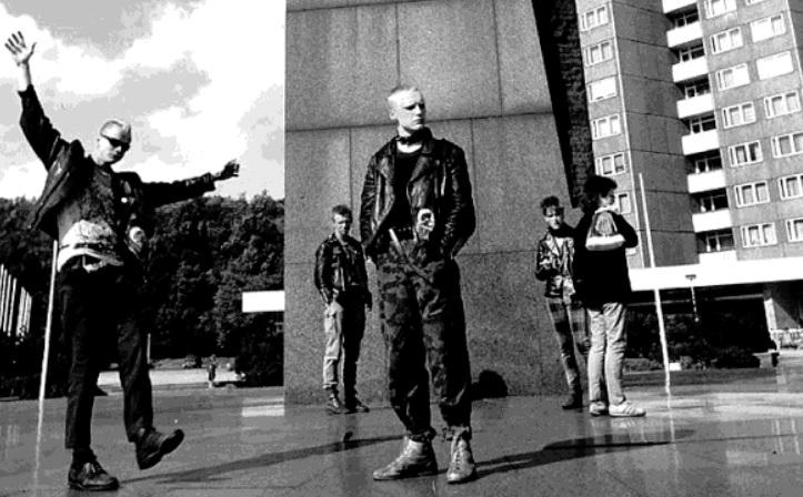 "East Berlin punks on Lenin Platz, in Friedrichshain circa 1982. An image featured in ""Burning Down The Haus"""