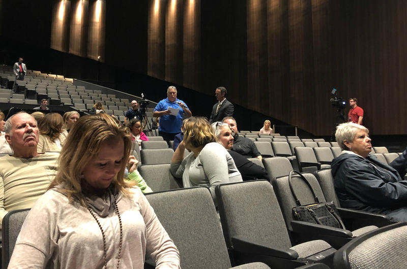 Audience members ask questions during a panel discussion on arming teachers and staff Jan. 7 at East Central High School.