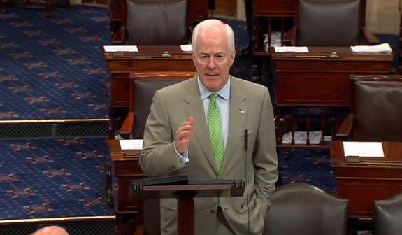Sen. John Cornyn on the Senate floor during the debate about the government shutdown.