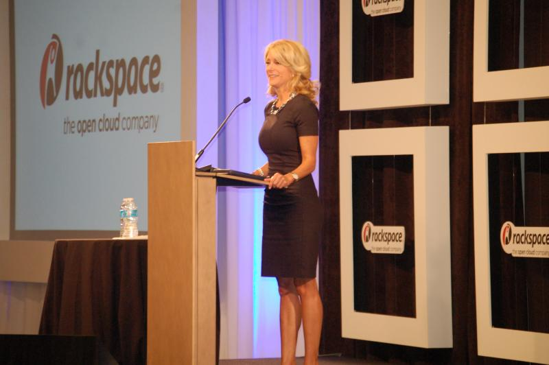 Davis took the podium at Rackspace during a recent San Antonio campaign stop.
